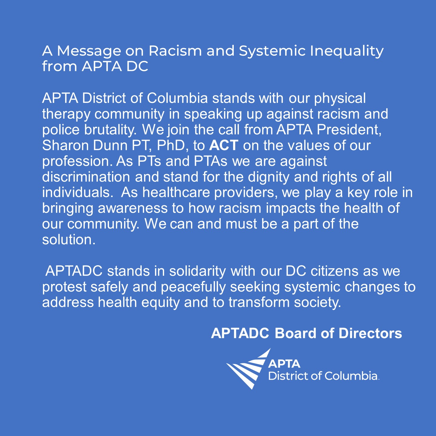 A Message on Racism and Systemic InequalityWeb